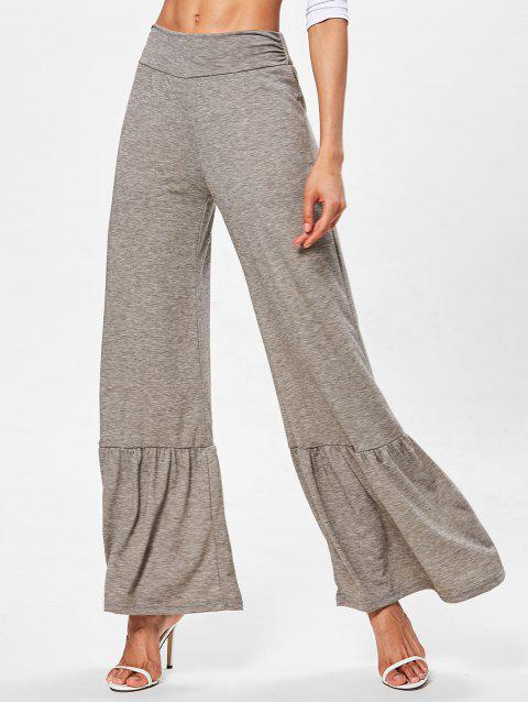 High Waist Wide Leg Pants with Ruffle - GRAY M