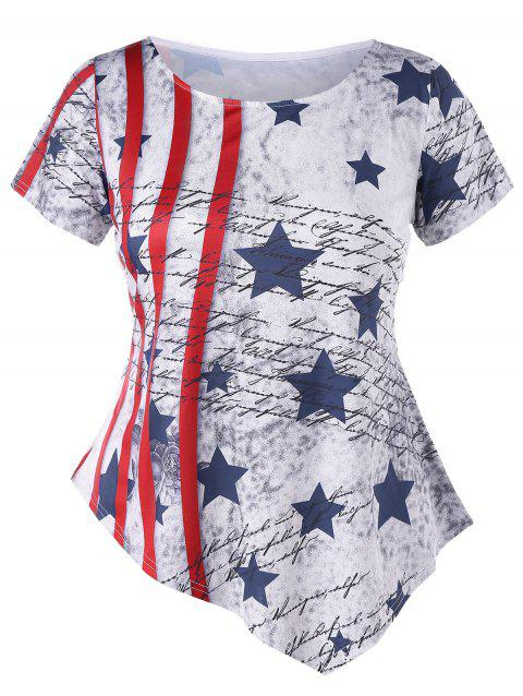 Plus Size Striped Stars Print Asymmetric T-shirt - LIGHT GRAY 2X