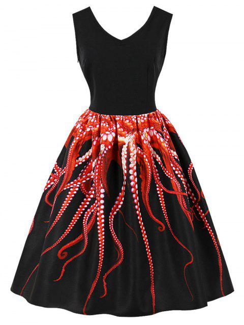 Limited Offer 2019 Retro Octopus 3d Print Pin Up Dress In Black 2xl