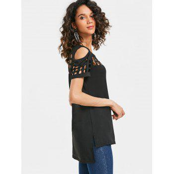 Cage Cut Out High Low Tee - BLACK XL