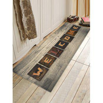 Welcome Wood Grain Pattern Water Absorption Area Rug - multicolor W24 INCH * L71 INCH