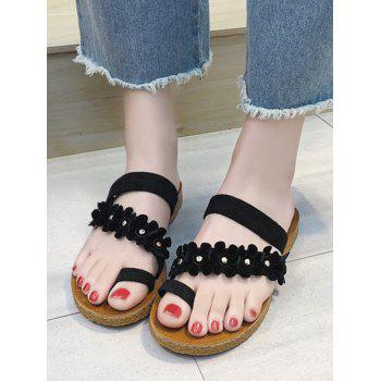 Floral Strap Flat Heel Toe Ring Sandals - BLACK 39