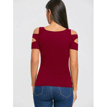 Cut Out Short Sleeve T-shirt - RED WINE L