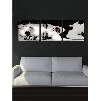 Sexy Lady Canvas Black White Monroe Painting Poster Wall Art Picture 3Pcs - multicolor G 3PC:16*16 INCH( NO FRAME )