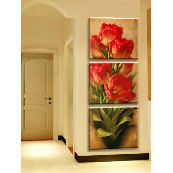 Beautiful Flowers Print Poster Canvas Wall Art Decoration 3Pcs - CHESTNUT RED 3PC:12*12 INCH( NO FRAME )