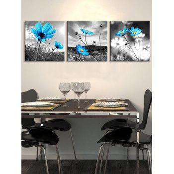Swaying Wild Flowers Printed Unframed Canvas Paintings - multicolor 3PC:16*16 INCH( NO FRAME )