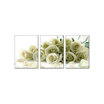 Rose Flowers Printed Wall Art Unframed Canvas Paintings - PARCHMENT 3PC:12*18 INCH( NO FRAME )