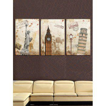 Popular Classic Buildings Printed Unframed Canvas Paintings - LIGHT KHAKI 3PC:12*18 INCH( NO FRAME )