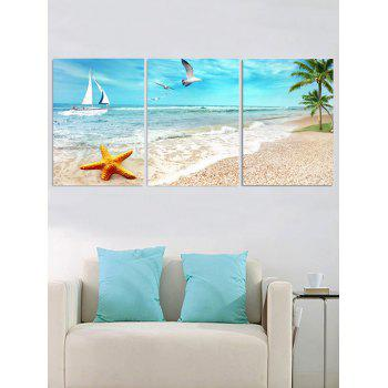 Starfish Beach Scenery Printed Wall Art Canvas Paintings - multicolor 3PC:12*18 INCH( NO FRAME )