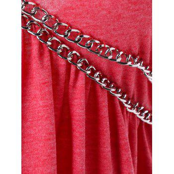 Open Back Chains Embellished Plunging T-shirt - RED M