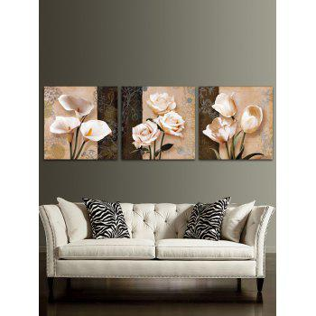 Flowers Printed Split Wall Art Canvas Paintings - multicolor 3PC:12*12 INCH( NO FRAME )