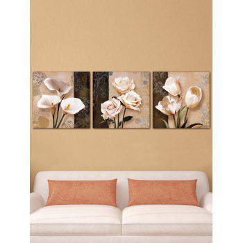 Flowers Printed Split Wall Art Canvas Paintings - multicolor 3PC:16*16 INCH( NO FRAME )