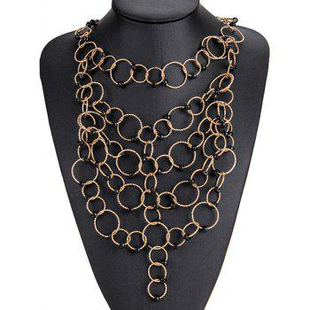 Alloy Circles Beads Necklace and Earring Set - BLACK