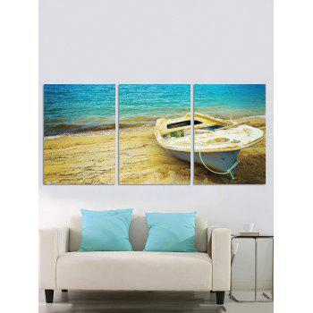 Split Wall Art Seaside Boat Printed Canvas Paintings - multicolor 3PC:12*18 INCH( NO FRAME )