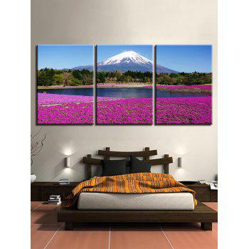 Snow Mountain Forest Lakeside Lavender Field Printed Split Canvas Paintings - multicolor 3PC:12*18 INCH( NO FRAME )