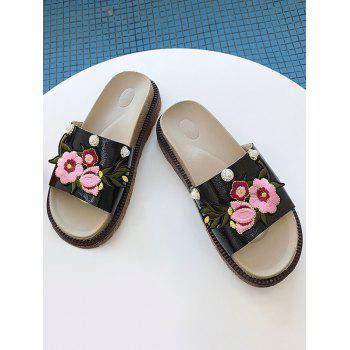 Floral Embroidery Daily Hang Out Slides - BLACK 36