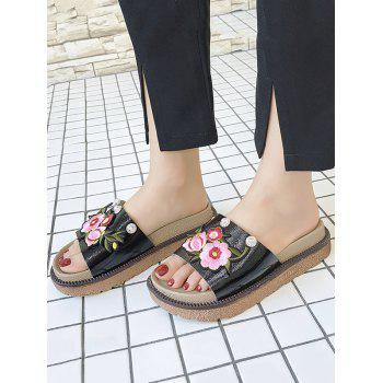 Floral Embroidery Daily Hang Out Slides - BLACK 37