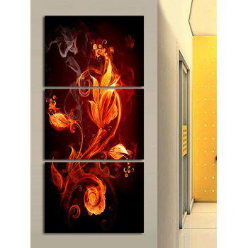 Flame Flower Printed Canvas Paintings Wall Art - multicolor 3PC:12*18 INCH( NO FRAME )