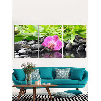 Waterside Flower Cobblestone Printed Wall Decor Canvas Paintings - multicolor 3PC:12*18 INCH( NO FRAME )