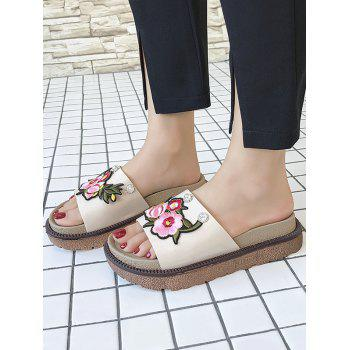 Floral Embroidery Daily Hang Out Slides - BEIGE 35
