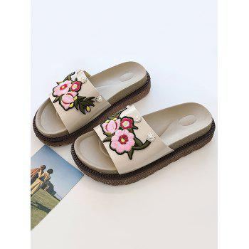 Floral Embroidery Daily Hang Out Slides - BEIGE 36