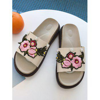 Floral Embroidery Daily Hang Out Slides - BEIGE 38