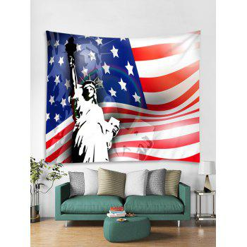 US Flag Statue of Liberty Print Tapestry Wall Art - multicolor W91 INCH * L71 INCH