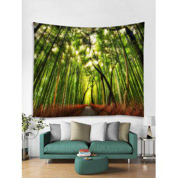 Bamboo Forest Path Print Tapestry Wall Art - GREEN W59 INCH * L59 INCH