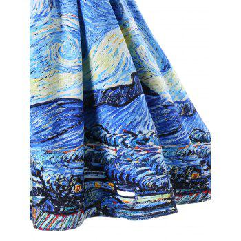 Starry Printed Vintage Party Dress - SEA BLUE M