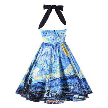 Starry Printed Vintage Party Dress - SEA BLUE XL