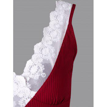 Lace Trim Plunging Neck Tank Top - WINE RED XL