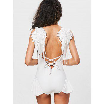 Applique Wing Ruffled Backless Swimsuit - WHITE L