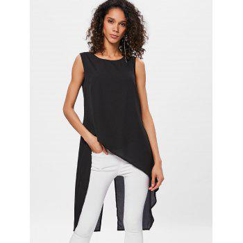 Sleeveless High Low Back Split Top - BLACK 2XL