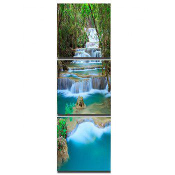 Forest Cascade Falls Printed Wall Art Unframed Canvas Paintings - multicolor 3PC:16*16 INCH( NO FRAME )
