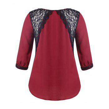 Plus Size Lace Panel V Neck Blouse - RED 5XL