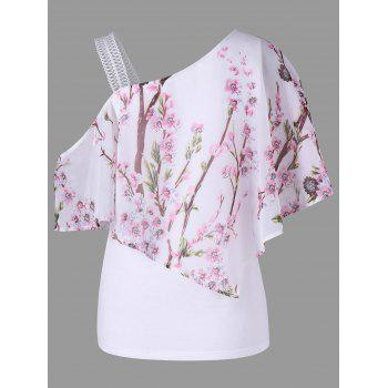 Skew Neck Open Shoulder Floral Overlay Blouse - WHITE 2XL