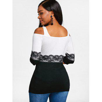 Hit Color Lace Embellished T-shirt - WHITE XL