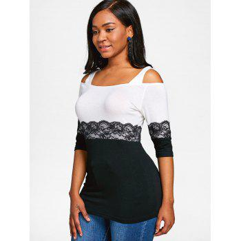 Hit Color Lace Embellished T-shirt - WHITE 2XL