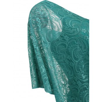 Ruched Side Lace Overlay T-shirt - LIGHT SEA GREEN M