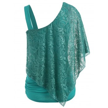 Ruched Side Lace Overlay T-shirt - LIGHT SEA GREEN L