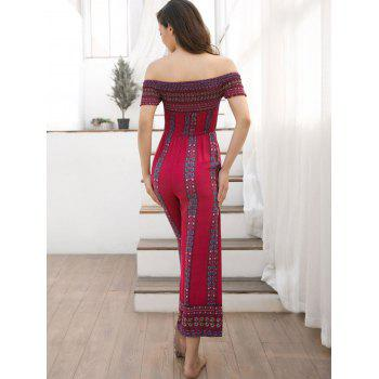 Off Shoulder Bohemian Jumpsuit - LAVA RED S