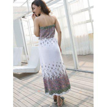 Drawstring Waist Print Tube Dress - WHITE S