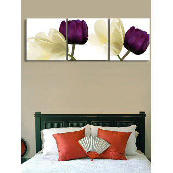 Flowers Printed Wall Art Unframed Canvas Paintings - multicolor 3PC:12*12 INCH( NO FRAME )