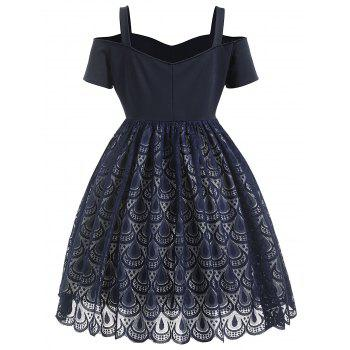 A Line Plus Size Lace Cold Shoulder Dress - DEEP BLUE 4X