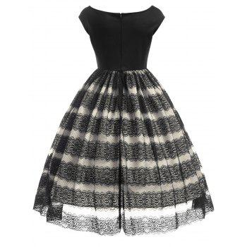 Lace Panel Scalloped Vintage Dress - BLACK L