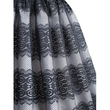 Lace Panel Scalloped Vintage Dress - DARK SLATE BLUE L
