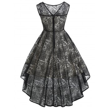 Vintage Sleeveless Lace High Low Dress - BLACK S