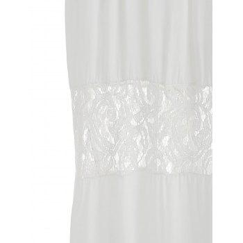 Beach Backless Lace Panel Maxi Dress - WHITE S