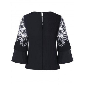 Applique Layered Bell Sleeve Top - BLACK L
