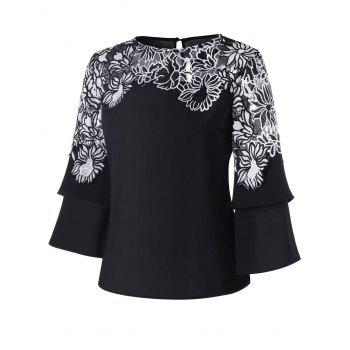 Applique Layered Bell Sleeve Top - BLACK XL